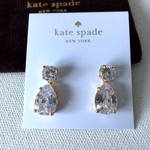 Kate Spade Double Drop Crystal Earrings Clear/gold